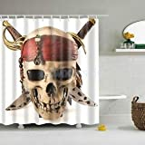 Shower Curtain Bathroom Water Resistant Polyester Fabric Drapes Pirate Skull