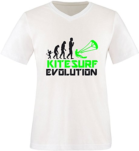 EZYshirt® Kitesurf Evolution Herren V-Neck T-Shirt Weiss/Schwarz/Neongr