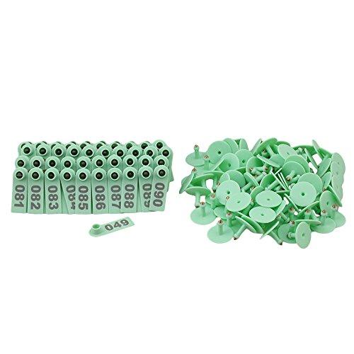 RDEXP Grün Vieh Marker Ohrmarke mit Nummer 1 ~ 100 Für Schaf Ziege Pig Set 100 Stück -