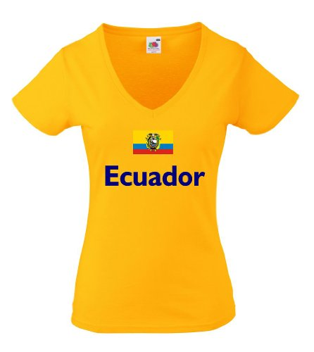 Fruit of the Loom Ecuador Damen T-Shirt Flag von XS-XXL M -