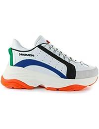 DSQUARED2 Scarpe da Uomo Sneaker Bumpy 551 Bianco Blu Arancio SS 2019 3bc257fb90a