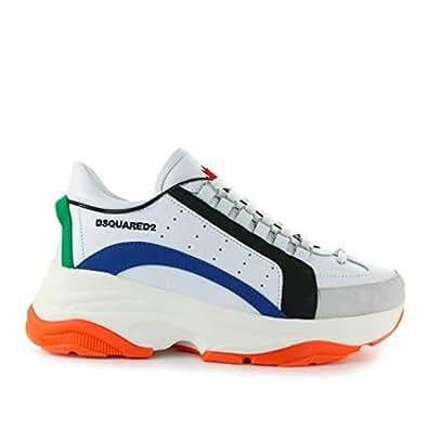 b43447c53b25 Dsquared2 Chaussures Homme Baskets Bumpy 551 Blanc Bleu Orange SS 2019