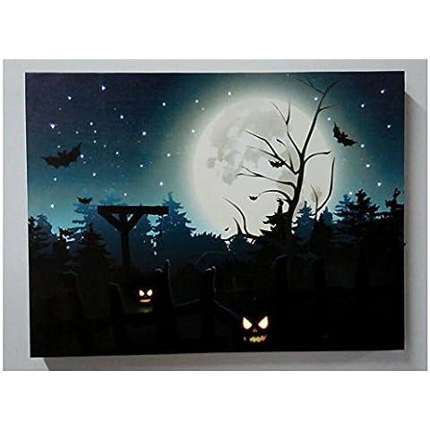 XYXY Handcrafted festival paesaggio Home Decor pittura pittura Halloween lanterna zucca con luce LED . 30*40