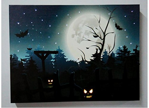 te Festival Home Decor Landschaftsmalerei Halloween Laterne Kürbis malen mit LED Licht , 40*50 (Halloween Laterne Kürbis)