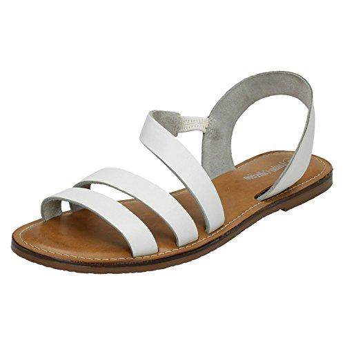 Weiß Manuelle Auswahl (Leather Collection Damen Sandalen mit Riemen (41 EU) (Weiß))