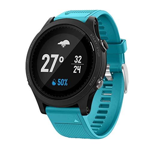 MuSheng Watch Band, Freizeit Kleiner Leicht Bequemer Weicher Schnellverschluss Kit Ersatz Silikagel Sport Band für Garmin Forerunner 935 GPS Watch (Himmelblau)