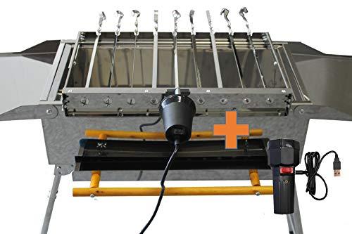 230V / 5V USB Spießdreher Edelstahl, incl. 9 Spieße Schaschlik Dreher Spießantrieb Spießaufsatz für Mangal