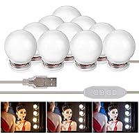 AUSHEN Luces de Espejo de TocadorLED Kit 10 Bombillas Regulables Luces Para Maquillaje Hollywood Espejo de Maquillaje Lámpara Para Maquillaje Tabla de Aparador Baño