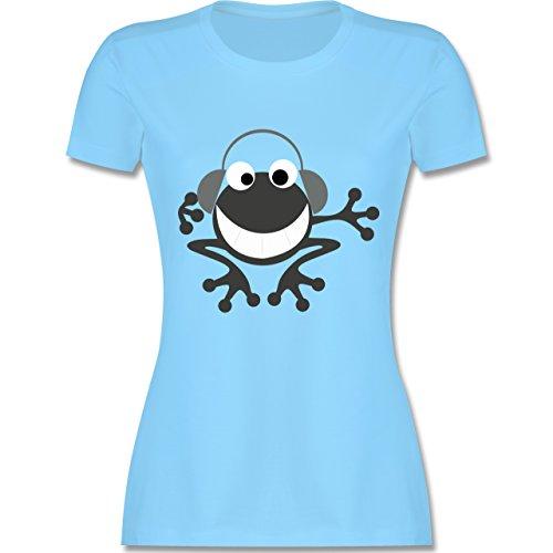 DJ - Discjockey - Discjockey Frosch - tailliertes Premium T-Shirt mit Rundhalsausschnitt für Damen Hellblau