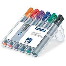 Staedtler Lumocolor flipchart marker 356 – Paquete de 6 Marcadores para Pizarra Blanca de punta redonda, multicolor