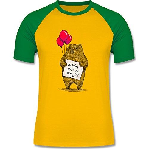 Statement Shirts - Schön, dass es dich gibt - zweifarbiges Baseballshirt für Männer Gelb/Grün