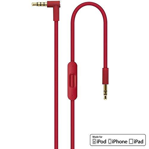 Rosso 2.0 Sostituzione Cavo Audio con In-line Microfono e Telecomando Talk per Apple Beats by Dr. Dre / Cuffia Monster - Studio | Solo | Pro | Mixr | Detox | iPhone | iPad | iPod AUX Ausiliario - Red