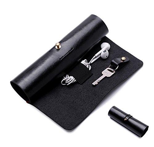 BoomYou Leder Geldbörse Roll Up Fall Stift Fall Lagerung Roll Tasche Bleistift Hülle Schlüsselhalter für Oberfläche Pen Datenkabel Make-up - Leder Kreative Persönlichkeit Retro Style - Schwarz (Fall Reise-geldbörse)