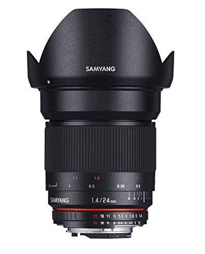 Samyang F1110805101 - Objetivo fotográfico DSLR para Sony A (distancia focal fija 24mm, apertura f/1.4-22 ED AS IF UMC, diámetro filtro: 77mm), negro