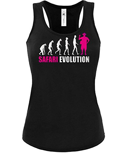 love-all-my-shirts Safari Evolution 4672 Damen Tank Top (TT-F-SW-Weiss-Pink) Gr. M