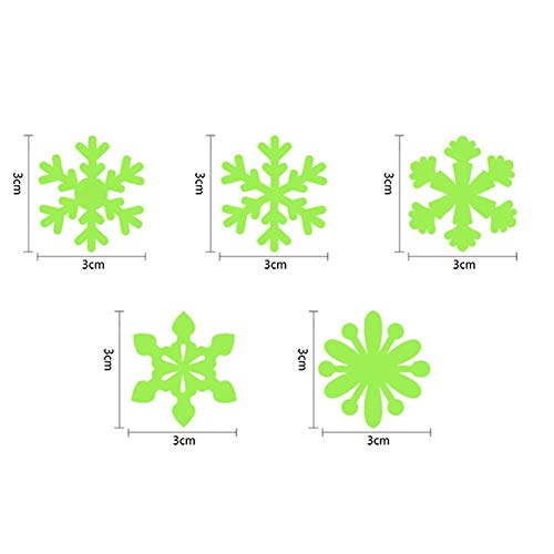 Sechs Color Fluorescent-set (Coogel 50 Pcs/Set Glitter Snowflake Wall Stickers Baby Decal Room Kids Room Home Decoration Color Stars Luminous Fluorescent 6 Colors (Four Colors))