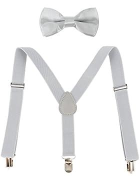 Ateid Pajarita y Tirantes elásticos lisos con pinzas ajustables metálicos para Niño