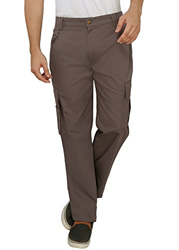 Ashdan-Outdoor-Solid-Cargos-Regular-Fit-Multi-Utility-Pockets-Sturdy-Polyester-Cotton-Blended-Cargo-Trousers