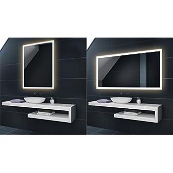 WARMWEIß 80 x 60 cm Design Badspiegel mit LED Beleuchtung von ...