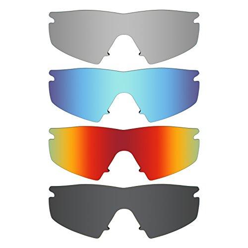 MRY 4Paar Polarisierte Ersatz Lenses für Oakley M Frame Strike Sunglasses-Stealth schwarz/fire rot/Ice blau/Silber Titan