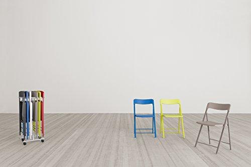 MILANI Set di 6 sedie pieghevoli Palma con carrello (Tortora)