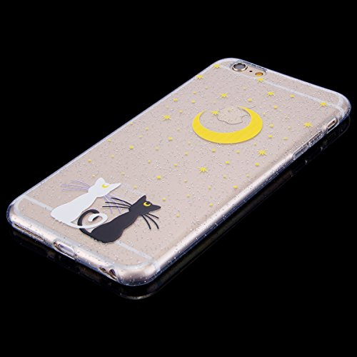 Custodia iPhone 6 Plus, iPhone 6S Plus Cover Sottile Silicone, SainCat Cover per iPhone 6/6S Plus Custodia Silicone Morbido, Bling Glitter Shock-Absorption Ultra Slim Transparent Silicone Case Ultra S Luna e le Stelle