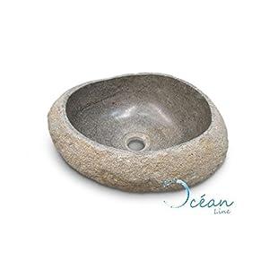 Océan Line Galéo – Lavabo de sobremesa, 30cm, de Piedra de río