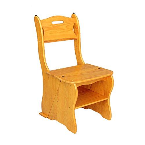 Stool Ladder- Tabouret de marche pliant en bois massif à double usage pour fauteuil de ménage (Couleur : Naturel)
