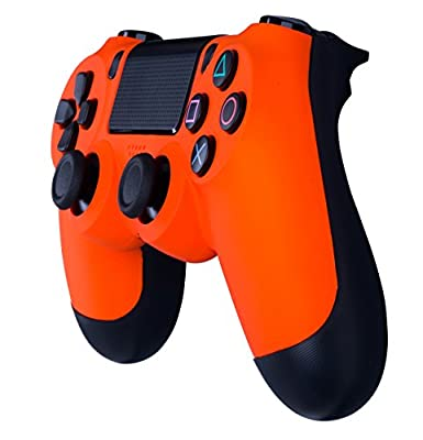 Crazy Controllerz Dualshock 4 Wireless Controller For Playstation 4-Soft Touch Orange Ps4-Added Grip For Long Gaming Sessions