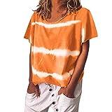 Kviklo Deman Plus Size T-Shirt Top Gebatiktd Streifen Druck Fashion Loose Bluse Oversize(L(42),Orange)