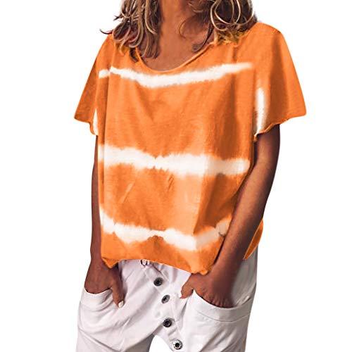 Kviklo Deman Plus Size T-Shirt Top Gebatiktd Streifen Druck Fashion Loose Bluse Oversize(5XL(52),Orange) -