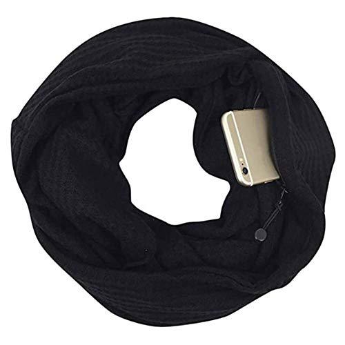 CADeN Pocket Scarf Infinity Schal versteckter Reißverschluss Aufbewahrungstasche leichtes Warm bleiben weiches Wickel-Lätzchen für Smartphone Lippenstift Passport (schwarz)