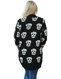 Womens Knitted Open Skull Cardigan Ladies Boyfriend Print Top Sizes 8 - 14