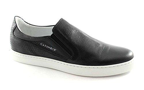 CAF NOIR PG122 schwarzer Mann Slip auf Schuhturnschuhe elastische Haut Nero