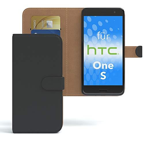 EAZY CASE HTC One S Hülle Bookstyle mit Standfunktion, Book-Style Case aufklappbar, Schutzhülle, Flipcase, Flipstyle, Flipcover mit 2 Kartenfächern aus Kunstleder, Schwarz