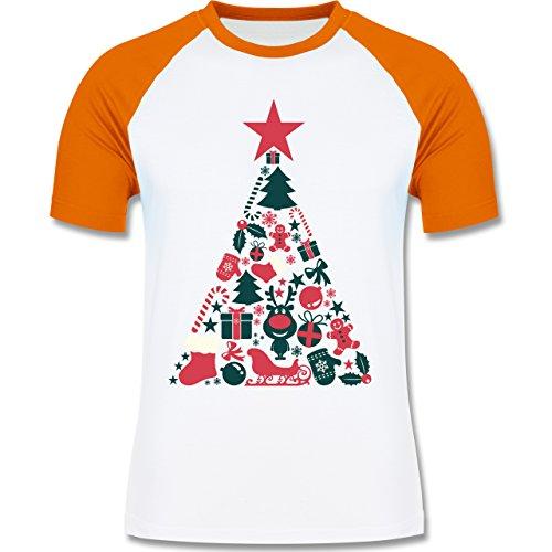 Weihnachten & Silvester - Weihnachtsbaum Collage - zweifarbiges Baseballshirt für Männer Weiß/Orange