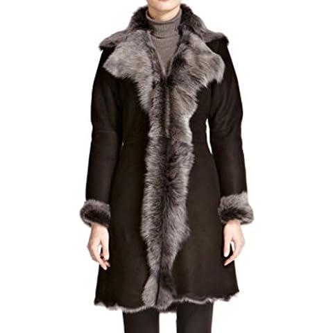 Nappa negro de las mujeres con Snowtip / piel de piel de oveja genuino piel de carnero. 3/4 Capa larga de invierno con cascada