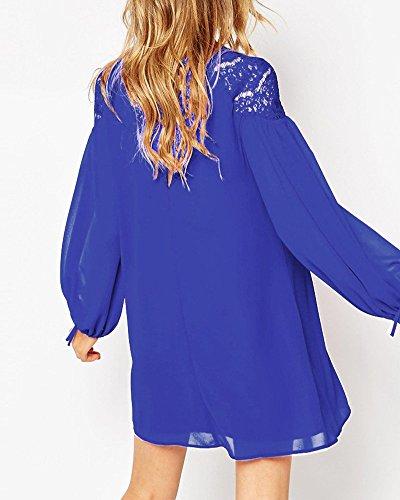SaiDeng Femme Lanterne Manches Longues Col Rond En Vrac Mousseline De Soie Jupe Robe Chemise Bleu