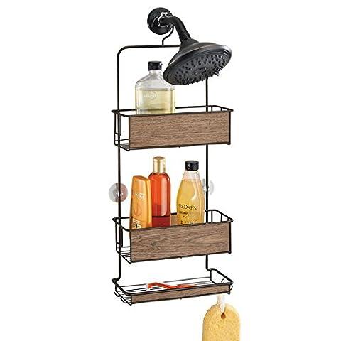 mDesign Panier-douche, pour shampoing, revitalisant, savon - Bronze / Finition noyer
