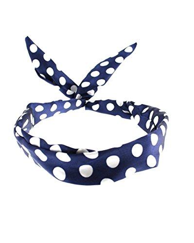 Zac's Alter Ego®, Haarband mit Punktmuster im Vintage-Stil, mit Draht verstärkt, blau