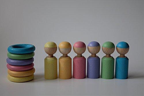Set aus 6 kleinen Pastell Regenbogen Figuren und 6 Ringen in passender Farbe Montessori Waldorf Pikler Skandi Wichtel Regenbogenbande Sortieren