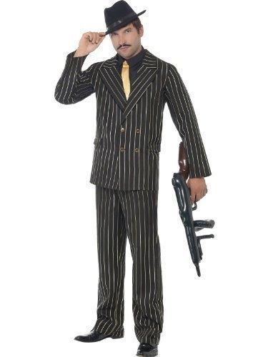 stüm 1920er Gangster Outfit Schwarz & Gold Nadelstreifen Bugsy Malone Great Gatsby Verkleidung M-XL - Schwarz, XL 117-122cm (Great Gatsby-kostüme Herren)