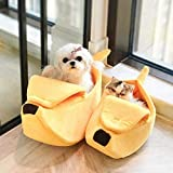 0Miaxudh Pet Nest Creative Banana Shape Warm Soft House Dog Cat Nest Winter