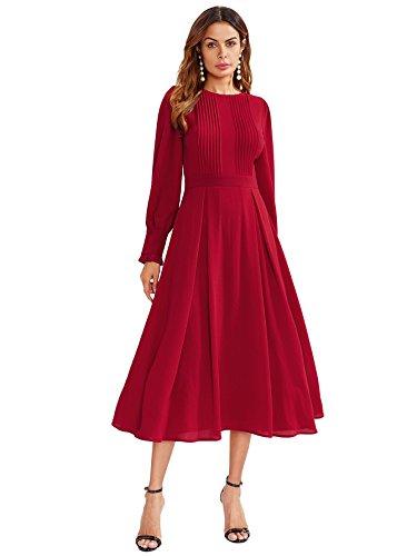DIDK Damen Plissee Kleider Rundhals A Linie Faltenkleid Elegant Langarm Midi Kleid mit Reißverschluss Rot S (Formale Rot Langarm Kleid)