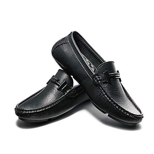 Apragaz Summer Driving Loafer Für Herren, Lässige Rutschfeste Mokassins Reine Farbe Leder Bootsschuhe Vamp Decor Mit Kette (Color : Schwarz, Größe : 42 EU) -