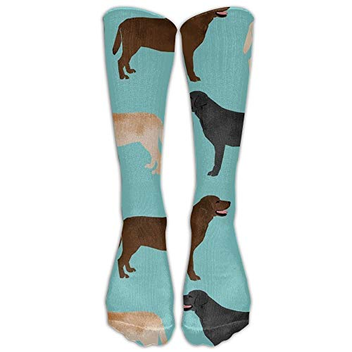 saibing NEW Cute Labradors Yellow Chocolate Black Lab Pet Dogs Athletic Tube Stockings Women's Men's Classics Knee High Socks Sport Long Sock One Size