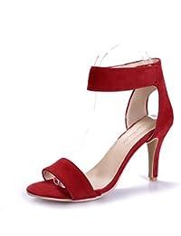 VogueZone009 Mujeres Material Suave Puntera Abierta Tacón de Aguja Sin Cordones Sólido Chanclas, Rojo, 38
