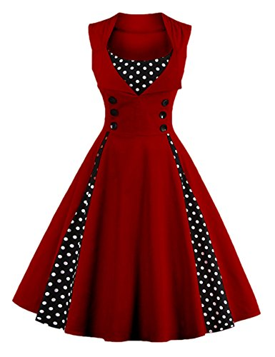 Minetom Damen Polka Dots Vintage 50er Elegantes Ärmellos Abendkleid mit Knöpfe Rockabilly Swing Cocktailkleid Weinrot DE 48 (V-neck Top Low-cut-tiefer)