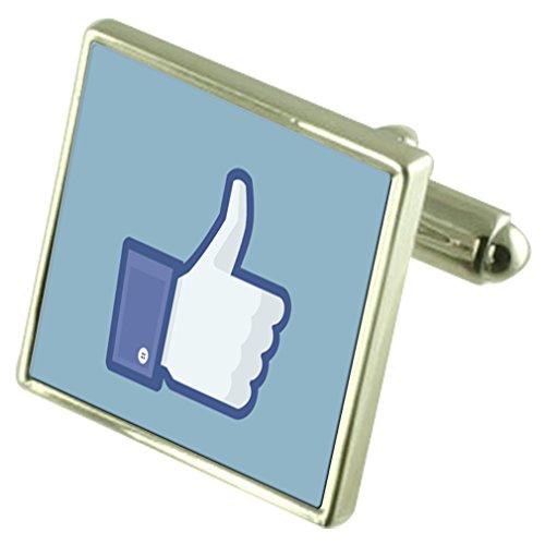 facebook-e-piaciuto-sterling-silver-gemelli-opzionale-casella-inciso