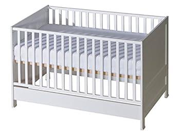 Belivin® 2in1 Babybett, Gitterbett 140x70cm weiß | umbaubar zum Juniorbett Jugendbett inkl. Matratze | mitwachsendes multifunktionelles Baby Kinderbett